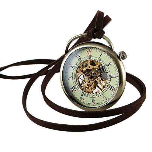 Bronze Case Necklace Mechanical Pocket Watch Pendant Hand-Winding Open Face Mens by OLSUS