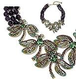 Heidi Daus Swarovski Crystal 3-Strand Beaded Drop Necklace ~Amethyst Dragonfly Artistry