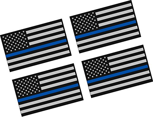 Thin Blue Line American Flag / 4 PACK / 2
