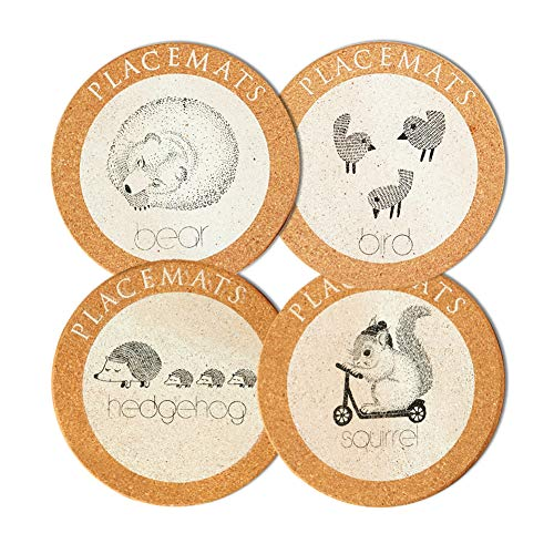 Cork Trivets (4 Pack) - Round Cute Animal Cork Coasters Hot Pot Holder Kitchen Corkboard Placemats with Bear Birds Hedgehog Squirrel pattern for Kitchen Dinning Table - 6.9 inches Diameter