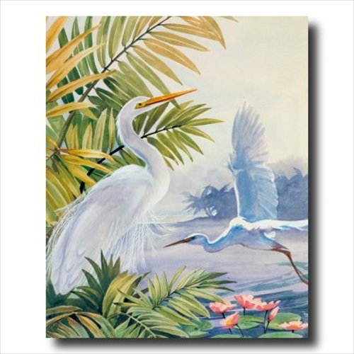 Egret Bird Tropical Lake Beach Animal Wildlife Landscape Wall Picture 16x20 Art Print