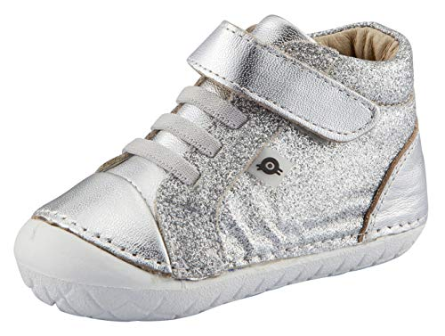 Old Soles Boy's and Girl's Ring Pave Premium Leather First Walker Sneaker Shoes (Argent Glam/Silver, 25 M EU/9 M US Toddler)