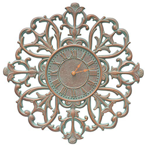Aged Copper Outdoor Clock (Whitehall Filigree Silhouette 21-in Indoor Outdoor Wall Clock - 01126 Aged Bronze (Copper Verdigris))