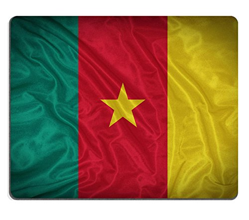 Liili Mouse Pad Natural Rubber Mousepad IMAGE ID 32052104 Cameroon flag pattern on the fabric texture vintage style