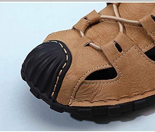 BHC Sandales Homme Cuir De Vachette Anti-Dérapant Été en Sandales Sports À Confortable Trekking Plage Closed Toe,Noir,48