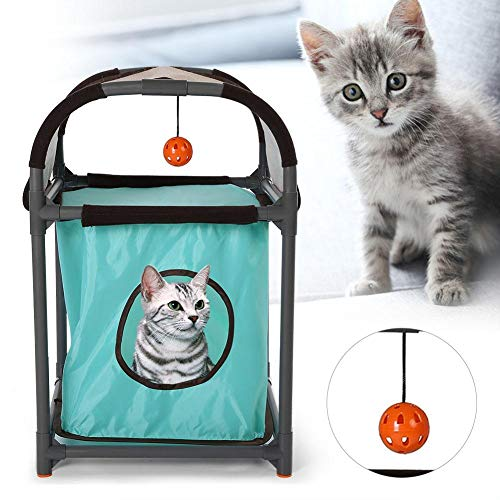 Greensen Cat Tree Small Cat House, Modern Cat Scratching Tree Portable Climbing Tree Cat Bed with Scratching Board Cave Cat Furniture, Multifunctional Pet Cat Tower with Hanging Toy
