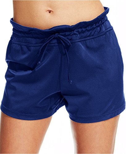 24th & Ocean Women's Tie Front Draw String Solid Color Swim Shorts (Large, Navy)