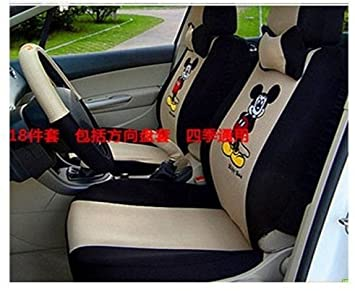 Classic Chinese Manual Embroidery Cartoon Mickey Mouse Design Car Seat Cover 18pcs