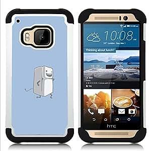- Running Fridge - Funny/ H???¡¯????brido 3in1 Deluxe Impreso duro Soft Alto Impacto caja de la armadura Defender - SHIMIN CAO - For HTC ONE M9