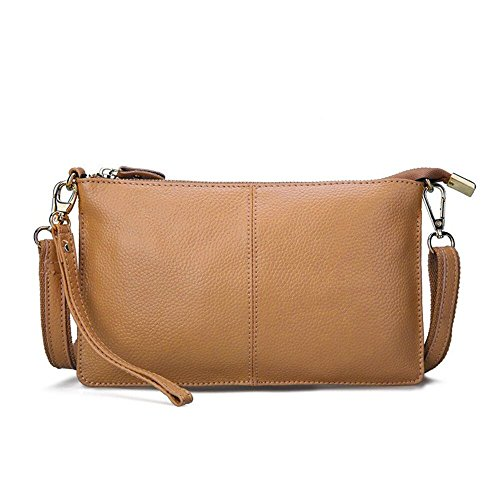Artwell Women Genuine Leather Clutch Handbag Fashion Wristlet Purse Envelop Crossbody Shoulder Bag with Removable Long Strap for Party Wedding Shopping - With Small Satchel Strap
