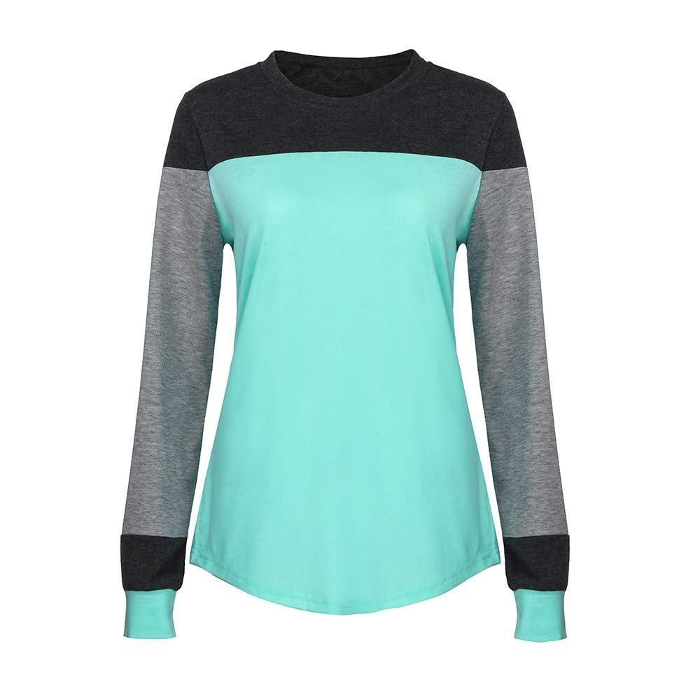 Realdo Clearance Women O-Neck Long Sleeve Blouse T-Shirt Contrast Color Tops