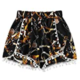 IAMUP Womens Lace Printing Pants Mid Waist Loose Shorts Elastic Waist Ringer Shorts Summer Outdoor Pants Black