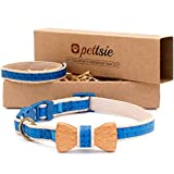 Pettsie Cat Collar Breakaway Safety with Bow Tie and Friendship Bracelet for You, Durable 100% Cotton for Extra Safety, D-Ring for Accessories, Comfortable and Soft, Adjustable Size 8-11 Inch, Blue
