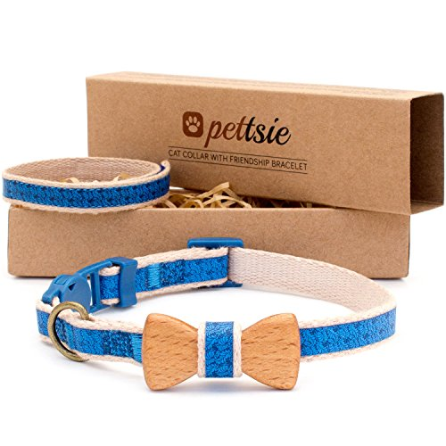 Hemp Cat Collars - Pettsie Cat Collar Bow Tie with Breakaway Safety and Friendship Bracelet for You, Durable 100% Cotton for Extra Safety, D-Ring for Accessories, Comfortable and Soft, Adjustable Size 8-11 Inch, Blue