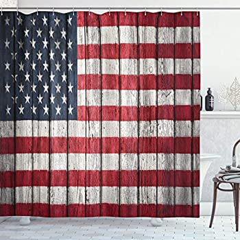 Ambesonne USA Shower Curtain, Fourth of July Independence Day Adorn National Democracy Art Rough Wood Print, Cloth Fabric Bathroom Decor Set with Hooks, 70