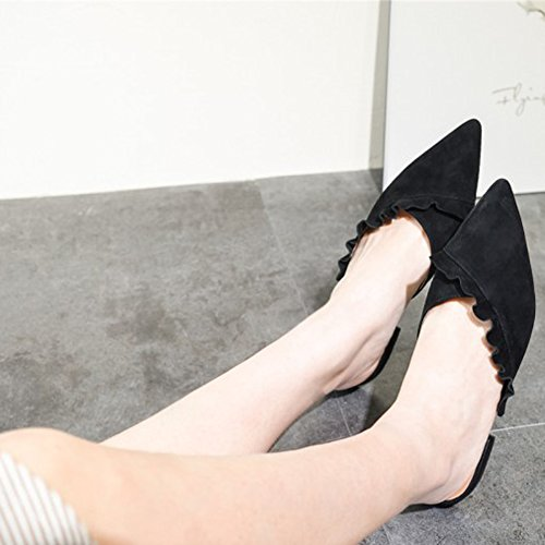 Mavir Pantofole Per Donna Scarpe Da Donna Scarpe Nere Mocassini Slip On Scarpe Da Donna A Punta Slip-on Girls Mule Black