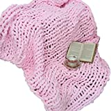 Giant Knit Chenille Throw Blanket Jumbo Fluffy Chenille Yarn Blanket Hand Knit Cozy Baby Pink Throw 60''x80'' Huge Knit Chenille Blanket