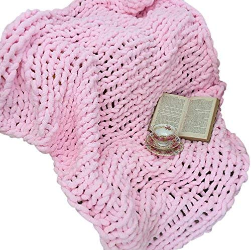 Giant Knit Chenille Throw Blanket Jumbo Fluffy Chenille Yarn Blanket Hand Knit Cozy Baby Pink Throw 60''x80'' Huge Knit Chenille Blanket by Vesna market (Image #3)
