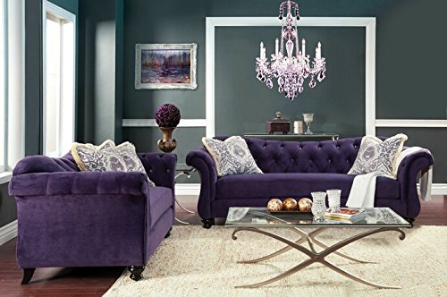 2 pc Antoinette collection purple premium fabric upholstered crystal button tufted back design Sofa and Love seat set