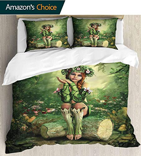 Fairy Kids Quilt 3 Piece Bedding Set,Computer Art Elf Girl with Wreath on Her Head Sitting on a Tree Stump Fantastic with Sham and Decorative 2 Pillows,Full Queen 68
