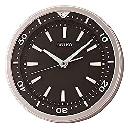 Seiko Ultra-Modern Black and Silver Tone Wall Clock with Quiet Sweep