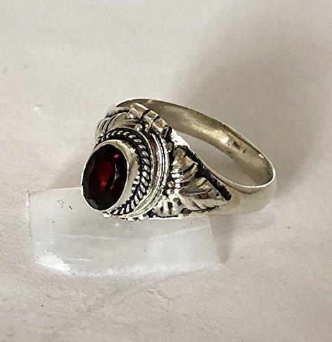 Red Garnet January birthstone Poison Ring Bali Sterling Silver Secret Locket AR08