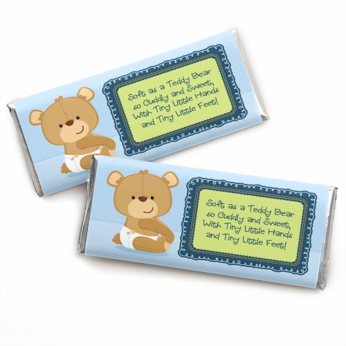Boy Baby Teddy Bear - Candy Bar Wrappers Baby Shower Favors - Set of -