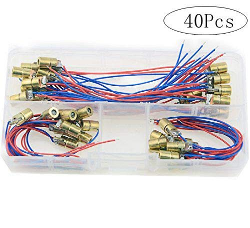 XLX 40pcs Of Wyhp Mini Laser Dot Diode Module Head WL Red 650nm 6mm 5V 5mW And 3V 5mW Each of 20Pcs