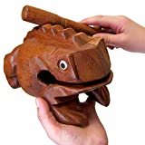 World Percussion USA Deluxe JUMBO 8'' Wood Frog Guiro Rasp - Musical Instrument Tone Block Brown inch FR08N