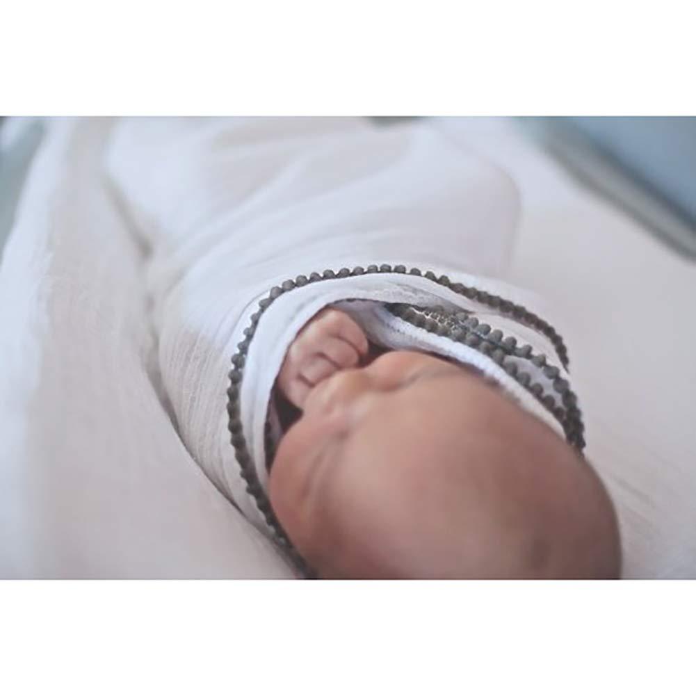 Newborn Blanket Pom Pom Swaddle Cotton Crib Blanket 47 x 47 inch Perfect Baby Shower Gift Pink+White