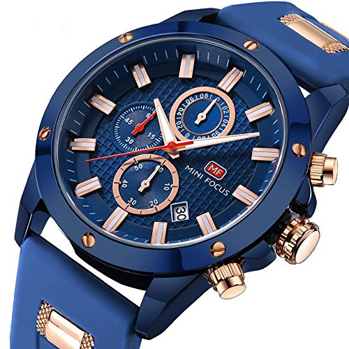 Men Business Watch, MINI FOCUS Quartz Chronograph Watches (Blue, Waterproof, Alloy Case), Silicon Band Strap Fashion Wristwatch for Men Gift