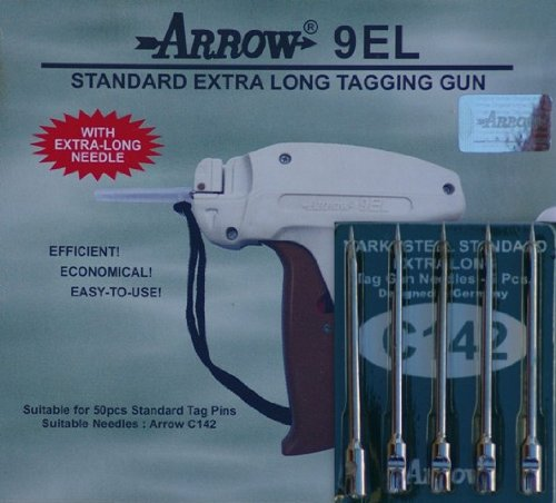 1 Arrow 9EL STANDARD EXTRA LONG NECK Tag Gun + 5 Spare Needles C142 Combo Price Label Clothing Tagging Attacher with High Quality Steel Needles Vintage Clothing Labels