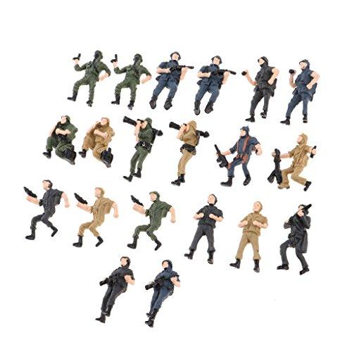 Baosity 約20個 フィギュア モデル 模型 兵士モデル キッズ 玩具 全2サイズ - 1:43スケールの商品画像