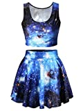 Q.Y.Fashion Women's Polyester Galaxy Print Crop Tank Top/Pleated Skater Skirts Set Freesize Blue