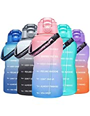 Fidus Large Half Gallon/64OZ Motivational Water Bottle with Paracord Handle & Removable Straw - BPA Free Leakproof Water Jug with Time Marker to Ensure You Drink Enough Water Daily-Pink/Blue