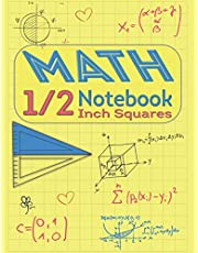 Math Notebook 1/2 Inch Squares: Lined Graph Paper Notebook for Students - Graph Paper Pages with White Paper