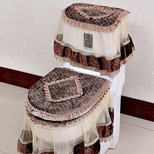 Flannel Cashmere (Etbotu Toilet Seat Cover Set,Flannel Cashmere Lace Printed Home Decoration,3Pcs-Water Tank Cover+Toilet Cover Seat+Toilet Seat)