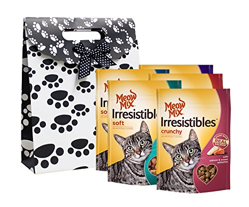 Meow Mix Irresistibles Cat Treat and Snack, Variety Pack of 5, Pet Gift Bag Set