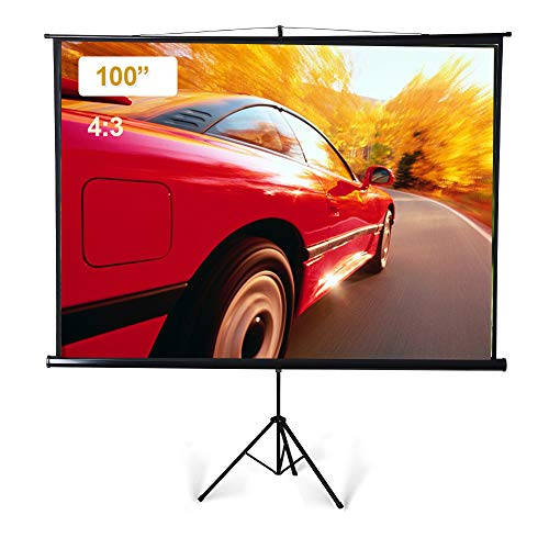 (Portable Projector Screen with Foldable Tripod Stand, 100 inch Diagonal 4:3 Indoor Outdoor Movie Screen with Wrinkle-Free Design, Roll-Up HD Projection Screen for Home Theater Cinema Party Office)