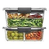 Rubbermaid Brilliance Contenedor de almacenamiento de alimentos, 100% a prueba de fugas, plástico, transparente, 4.7C Combo Kit, Salad/Snack Set, 4.7 Cup Combo Kit, 1