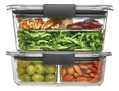 Rubbermaid Brilliance Salad/Snack Lunch Storage Container Combo Kit, 100% Leak-Proof, Plastic, Clear