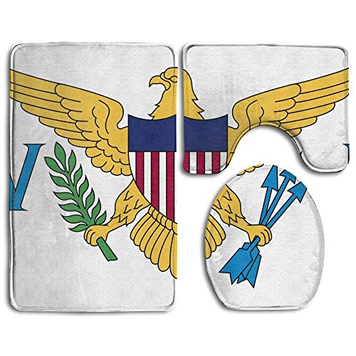 Flag of Thenited States Virgin Islands Stylish 3pc Bathroom Set Rug Contour Mat Toilet Lid Cover Bathmats for Women Home Décor Carpets, Doormats for Entrance Way Outdoors