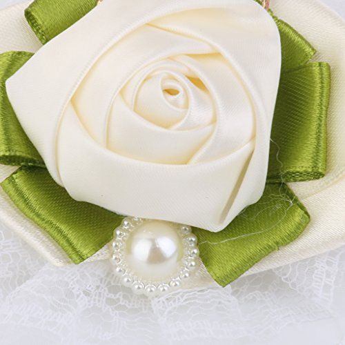 Bracelet en Perles Artificielles Fleur Poignet pour Mariage - Blanc Cassé
