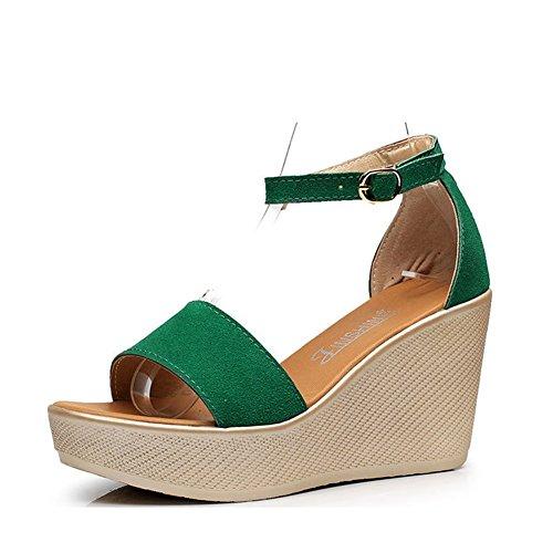 Zapatos de Mujer Nubuck Cuero Primavera Verano Sandalias Confort cuña talón para Casual Negro Rojo Verde (Color : Verde, tamaño : 37)