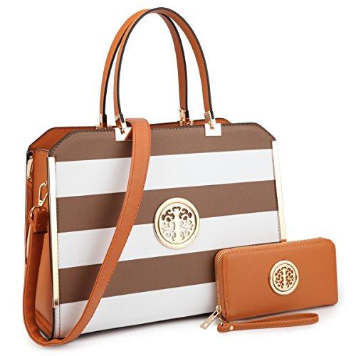 Womens Handbags Designer Satchel Tote Bag Shoulder Bags Ladies Purses for Women Matching Wallet (02-6900W CF/WT) -