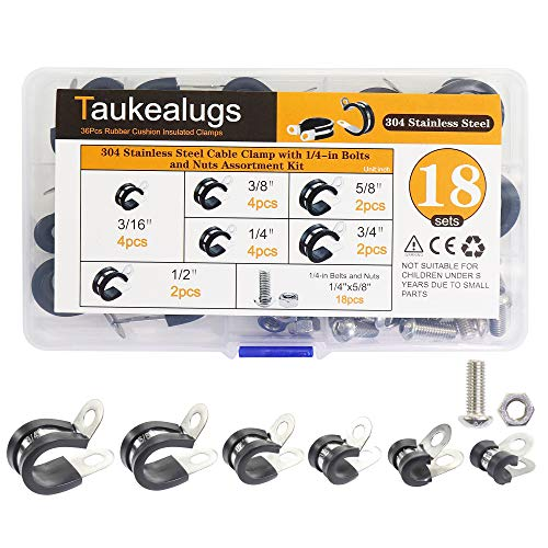 18sets Rubber Cushion Insulated Cable Clamps-6sizes 304 Stainless Steel Metal Clamp with Hex Bolts Screws Nuts Assortment Kit