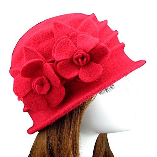 Ealafee Women Blue Real Wool Berets Beanies Cloche Fedoras Flower Top Hats Cap by Ealafee (Image #2)
