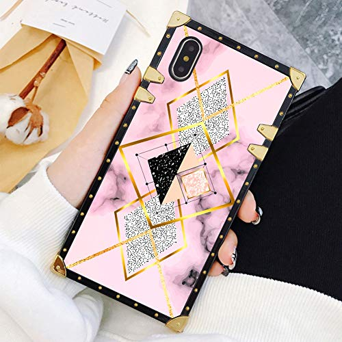 Square Case Compatible iPhone Xs Max Geometric Marble Luxury Elegant Soft TPU Full Body Shockproof Protective Case Metal Decoration Corner Back Cover iPhone Xs Max Case 6.5 Inch