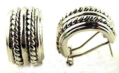 - Silver Tone Textured Half Hoop Omega Clip Earrings