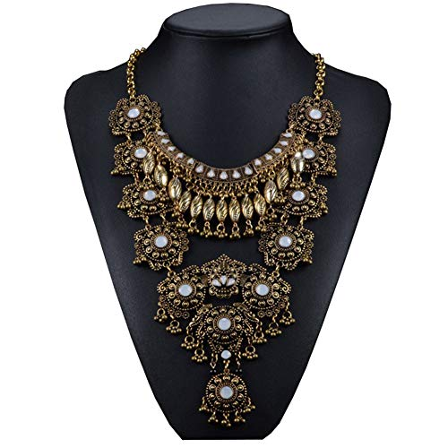 (Lianjie Women Vintage Antique Gold/Silver Bohemia Necklaces Tone Long Boho Crystal Beads Statement Necklaces Indian Jewelry)